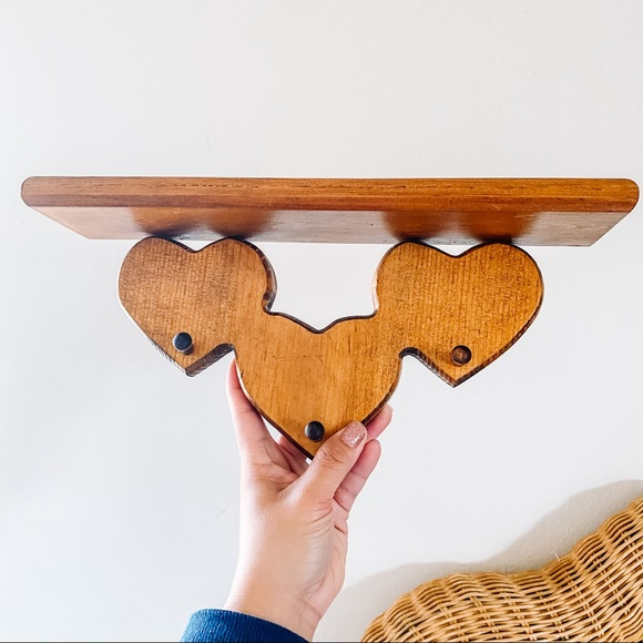 Three Peg Wooden Hearts Wall Shelf